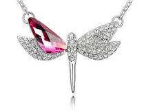 collar 50cm libelula cristal blanco rosa plateado calidad nuevo