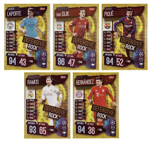 MATCH ATTAX EXTRA 2019/20 FULL SET OF FIVE (5) GOLD FOIL DEFENSIVE ROCK CARDS -