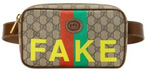 """NEW GUCCI GG SUPREME CANVAS LEATHER """"FAKE/NOT"""" PRINT BELT BAG FANNY PACK BUM BAG"""