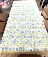 """Vintage 60s Boho 93"""" X 81 Bedspread JC Penney Fashion Manor Made In Italy Fringe"""