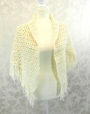 Vintage Hand Crocheted Poncho White Fringe 1970s