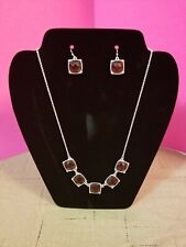 avon red & silver jewelry sets