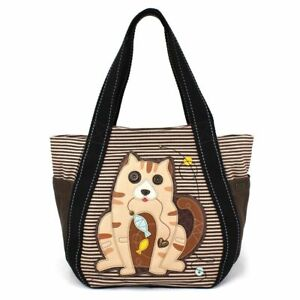 Chala Purse Handbag Leather & Canvas Carryall Tote Bag Kitty Kitten Cat with Fis