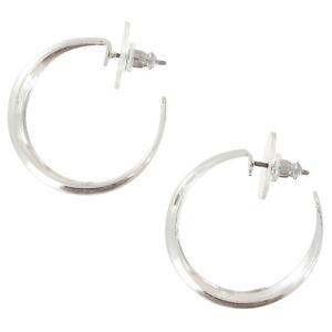 "Classic Silver Tone 1"" Hoop Pierced Earrings - Plain Half Round Lightweight"