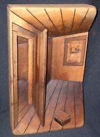 "Wilson Alvarenga 3D Wooden Carving-Interior Room Scene, 15.5""x 9.5"" Signed"