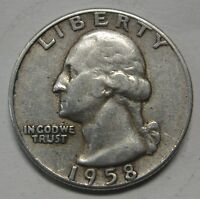 1958 Washington Silver Quarter in Average Circulated Condition  DUTCH AUCTION