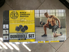 GOLDS GYM 40 LB Cast Iron Dumbbell Set Weight Dumbbells Hand Weights Adjustable