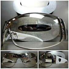 CONTEMPORARY MODERN SHIELD WRAP Style SUN GLASSES Clear Lens Slight Mirror Tint