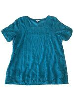Millers Plus Size 18 Women's Aqua Blue Lace Short Sleeve Singlet Top T-Shirt
