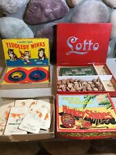 3 1930's Games Lotto Cracker Jack Tiddly Winks & Monkey Shines Card Game BK