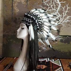 Native American Chief Headwear War Bonnet Indian Feather Headdress Headpiece