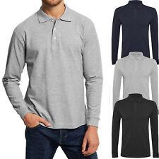 Polo Uomo Manica Lunga Maglia Cotone Leggero T-Shirt Elasticizzata VEQUE