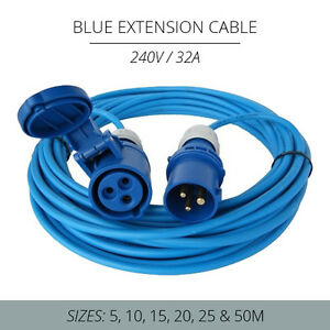 32A BLUE EXTENSION LEAD 240V HOOK UP CABLE 5M - 50M 4MM IDEAL FOR MARINA / BOATS