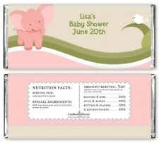 Elephant Baby Pink - Personalized Baby Shower Candy Bar Wrappers -Candy Favor