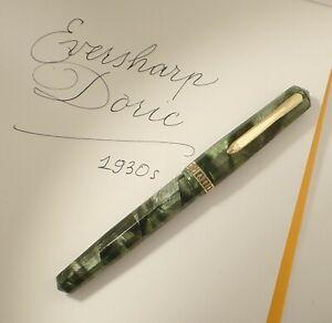 WAHL DORIC FOUNTAIN PEN 1930s, GREEN SHELL CELLULOID, RESTORED