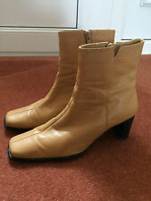 LADIES QUALITY LILLEY & SKINNER CAMEL LEATHER ANKLE BOOTS 2 3/4in HEEL-SIZE 6