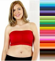 Plus Size Strapless Bra Bandeau Tube Removable Padded Top Stretchy  XL 1X 2X 3X