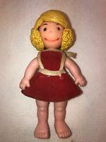 Vtg 1973 Uneeda U.N. Co Hard Plastic Tiny Doll Revolving Face Happy Surprise Yum