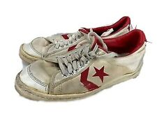 Vintage Converse All Star Shoes Canvas White Red Lo Top Made in the Usa Size 10