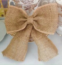 """3 Large Hessian Bows Handmade 6"""" Wide Cakes Wreaths Christmas Decorations"""