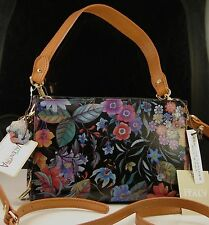 Valentina Made In Italy Textured Floral Leather Cross Body Shoulder Hand Bag NWT