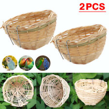 2x Small Bird Nest Hanging Cage For Finch Parrot Canary Bamboo Woven Hatching