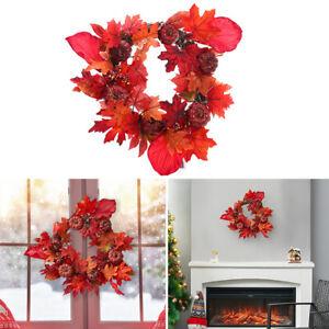 Autumn Pumpkin Maple Artificial Garland LED Hanging Wreath Christmas Door Decor