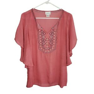 Liz Claiborne Pink Flutter Sleeve Lightweight Embroidered Top Women's Size M