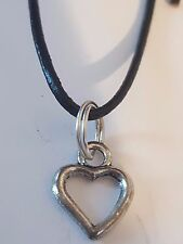 LOVELY OPEN HEART ON BLACK LEATHER CORD SLIDING KNOT ADJUSTABLE CHOKER NECKLACE