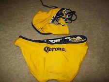 Corona Bright Yellow Women's Swimsuit Reversible to Blue Flower Hibiscus Bikini