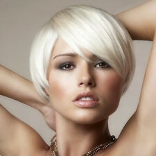 Sliver White Crop Pixie Cut Head Wig Short Bob Platinum Hair Full Wigs + A Cap