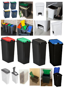 Plastic Recycling Bins Touch Top Recycle Dust Waste Pet Food Kitchen Pedal Bin
