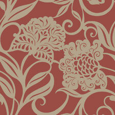 Red Gold Oriental Asian Chinese Japanese Inspired Floral Wallpaper