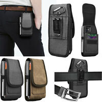Vertical Wallet Case Card Slot Holster Pouch W/Belt Clip Loop For iPhone Samsung