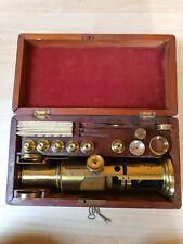 Sehr altes großes englisches Trommel Mikroskop um 1850 aus Messing