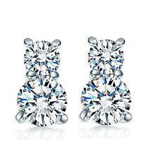 Elegant Two Zircon Balls Silver Stud Earrings Studs E898