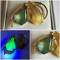 Vintage Uranium Glass Abstract Brooch Aqua Teardrop Faceted Jewel Gold Tone