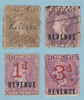 ST VINCENT - INTERESTING GROUP OF 4 REVENUE STAMPS - NO FAULTS VERY FINE! - V329