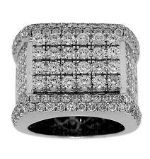 14K White Gold 7.69ct PRINCESS & ROUND Cut DIAMOND MENS RING