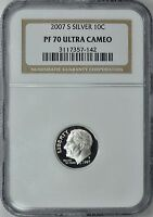 2007-S ROOSEVELT *SILVER* PROOF DIME 10c NGC PF70 ULTRA CAMEO