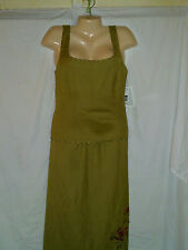 JESSICA HOWARD 2 PIECE DRESS  NWT LIME GREEN LINEN / RAYON BEADS FRINGE SIZE 12