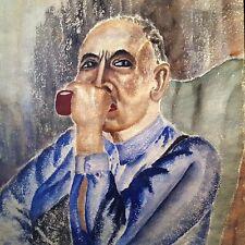 13x10 INTENSE 1936 Original PAINTING Black Man w/Pipe PORTRAIT Signed Watercolor