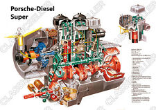 Porsche-Diesel Super rimorchiatori Trattore POSTER MANIFESTO immagine motore disegno di taglio