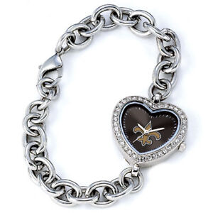 New Orleans Saints Game Time NFL Crystal Heart Shape Series Wrist Watch