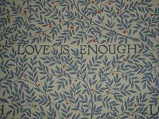 """WILLIAM MORRIS CURTAIN FABRIC """"Love is Enough"""" 3.65 METRES CHINA BLUE/VELLUM"""