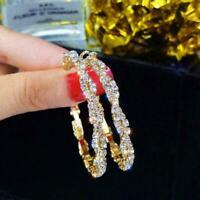 Herrliche 18K Gold Band Ohrringe für Frauen Schmucksachen Freies Verschiffe R8G1
