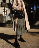 Zara AW2020 Polka Dot Midi Dress Size XS Khaki Green Sold Out BNWT
