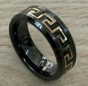 8mm Men Versace Ceramic Greek Key Gold & Black Carbon Inlay Wedding Band Ring