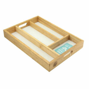 Wooden Cutlery Tray Drawer Kitchen Home Organiser Storage Utensils Rack Tidy New