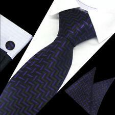 Mens Classic Black Purple Pattern Silk Tie Handkerchief Hanky Cufflinks GIFT SET